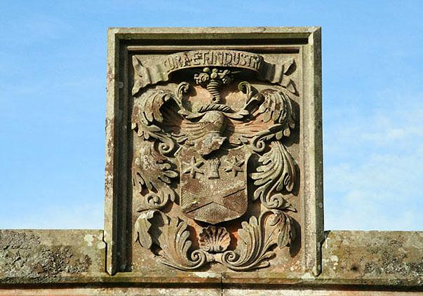 Crest detail at Stow Old Parish Church graveyard