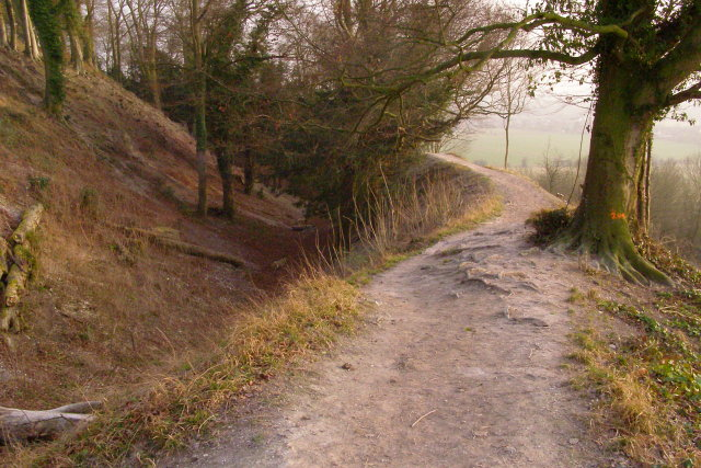 Footpath on the outermost rampart of Old Sarum