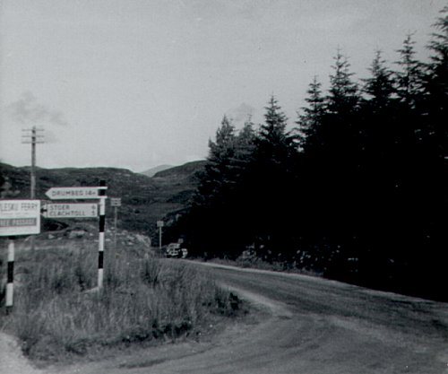 Road junction outside Lochinver, 1966