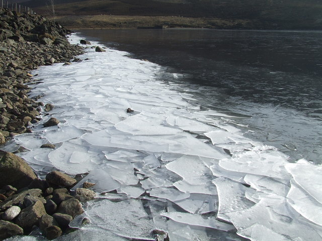 Ice piled at the shore of Loch Lee
