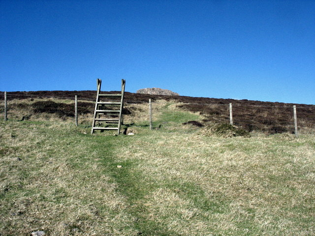 Stile at the boundary between moorland and improved pasture