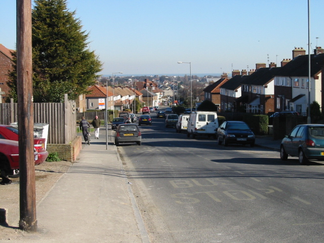 Looking NE along Mill Hill