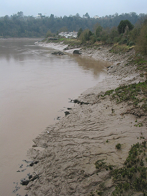 Muddy bank from the Old Wye Bridge, Chepstow