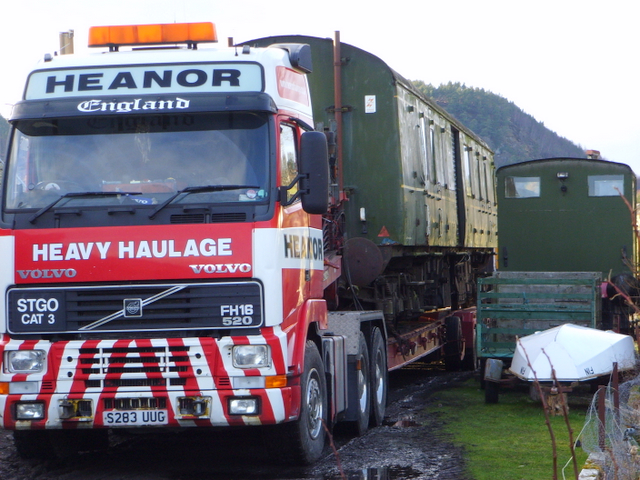 Antique railway carriage on the move