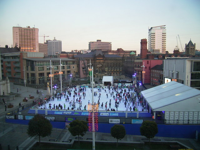 Skating at Millennium Square Leeds