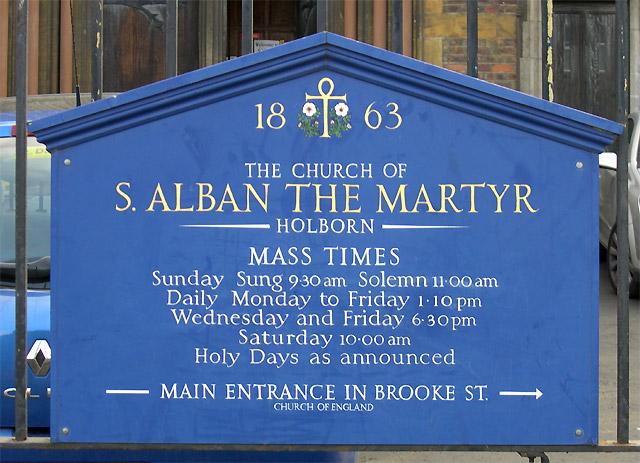 Mass Times at St Alban's Church, Holborn