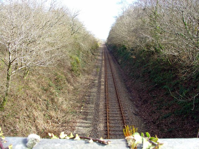 Railway to Fishguard, from bridge at Haythog, looking east