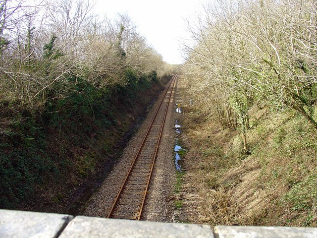 Railway to Fishguard, from bridge at Haythog, looking west