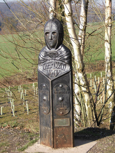 Mercian Way marker (close-up), Severn Valley Country Park