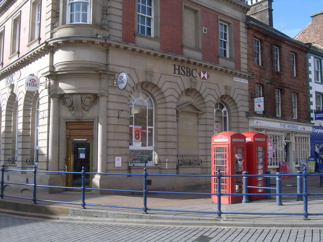 Telephone boxes in front of HSBC, Penrith