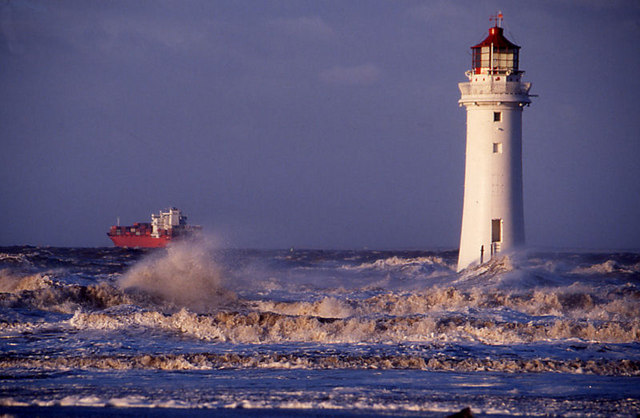 Perch Rock lighthouse in a storm