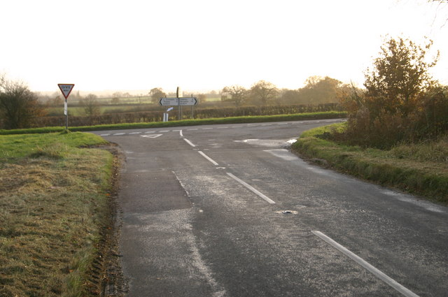 Road junction near Hornage Farm
