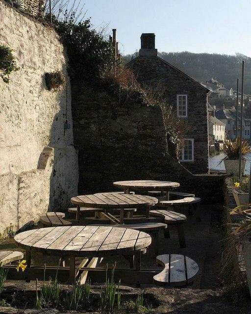 Tables below the Swan Inn