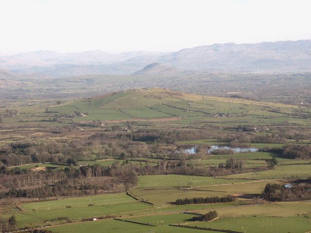 Garn Bentyrch hill and the Glasfryn ornamental lake from the summit of Mynydd Carnguwch