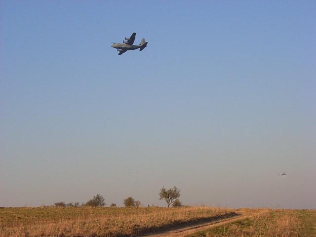 MOD plane being flown over Maddington Down