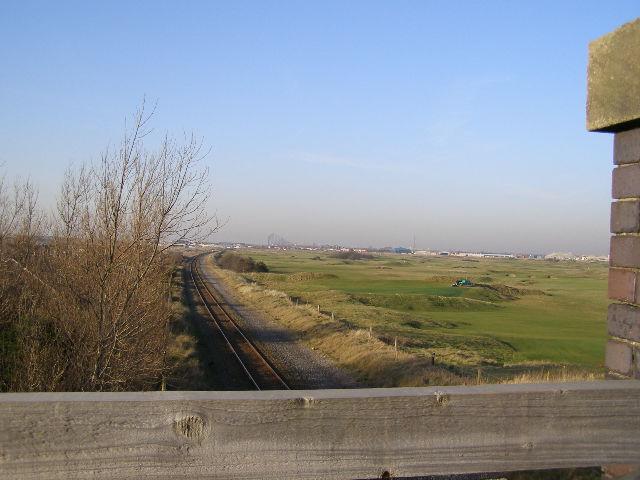 Looking along the railway line towards Blackpool