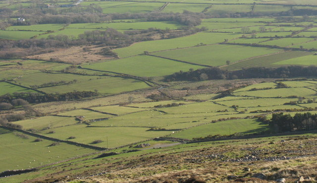 View south to the incised valley of Afon Erch east of Carnguwch church