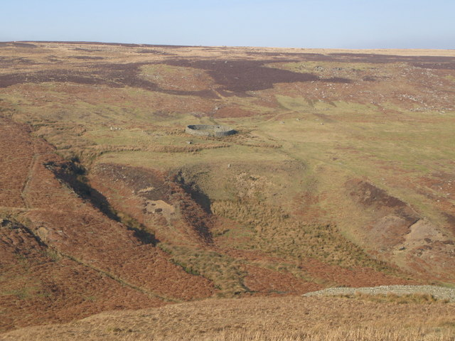 The valley of Beldon Burn, and sheepfold on Riddlehamhope Fell