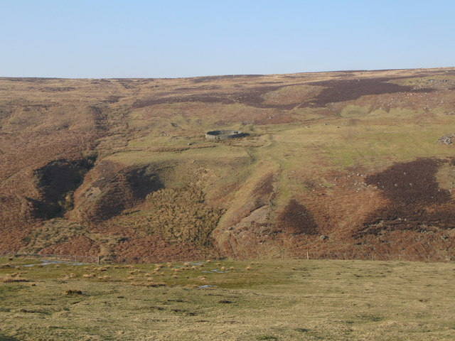 The valley of Beldon Burn, and sheepfold on Riddlehamhope Fell (2)