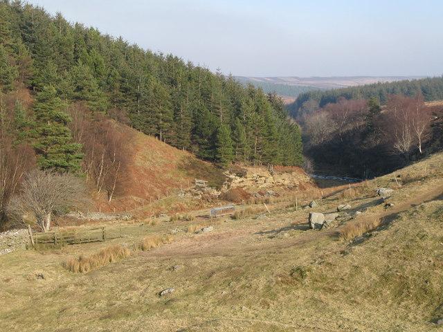 The valley of Beldon Burn below Heatheryburn
