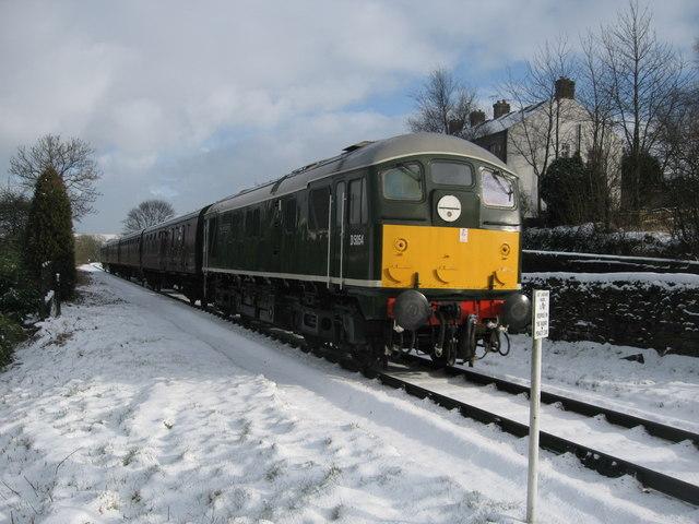 Locomotive passing through Irwell Vale