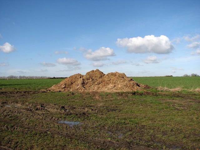 Muck heap in field