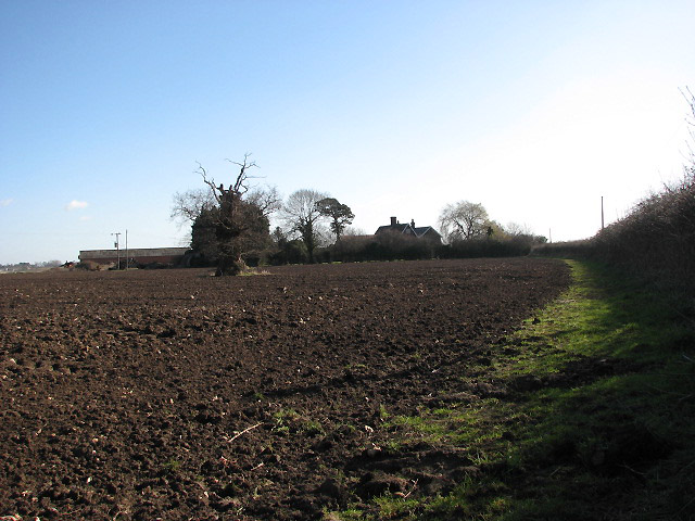 View across ploughed field