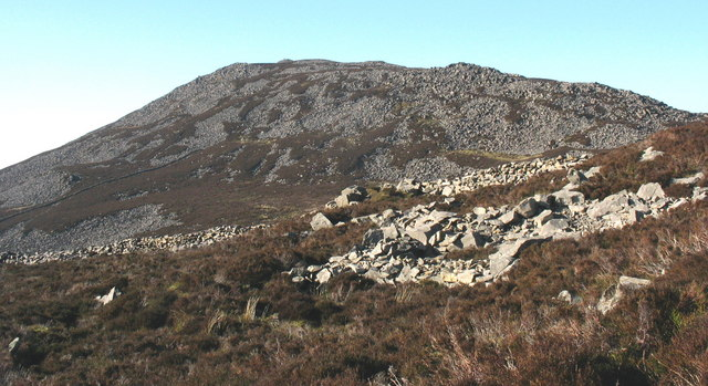 View west across Tre'r Ceiri fort with Yr Eifl in the background