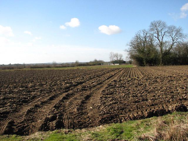 View west across bare field