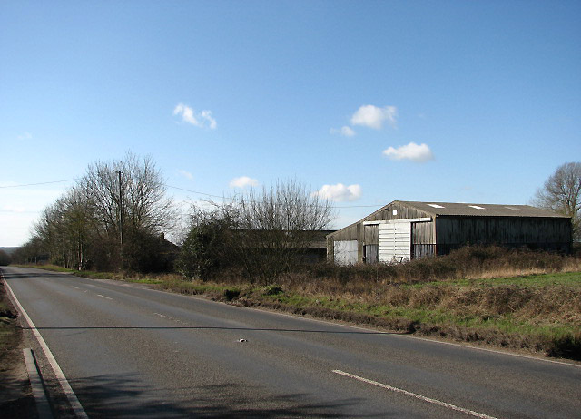 Agricultural sheds beside the A1075