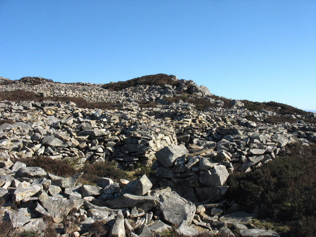 Trackway through scree defences leading up to the side gate of Tre'r Ceiri Iron Age Fort