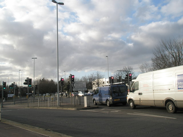 Junction of main road with Clement Attlee Way