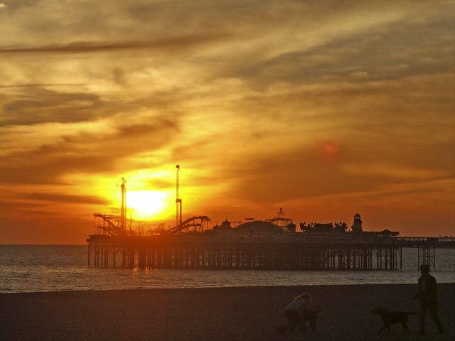 Brighton Pier, East Sussex, at sunset