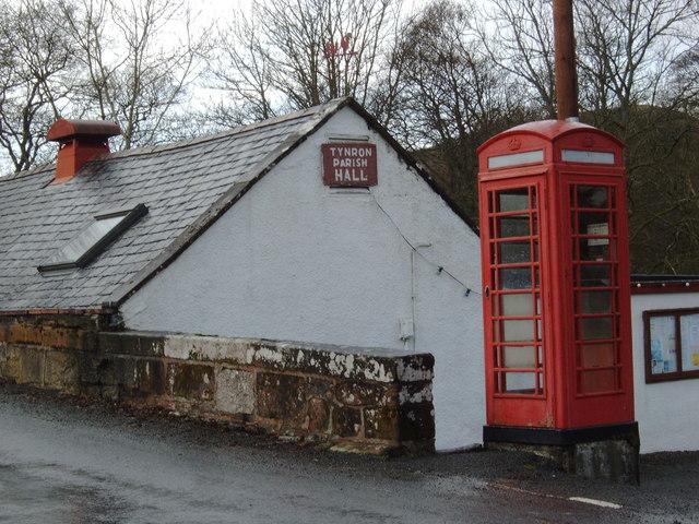Telephone box at Tynron Parish Hall