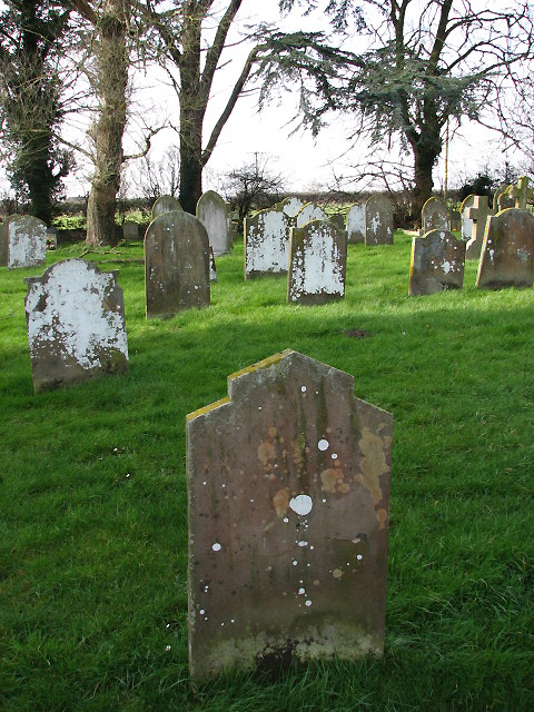 Lichen-covered headstones