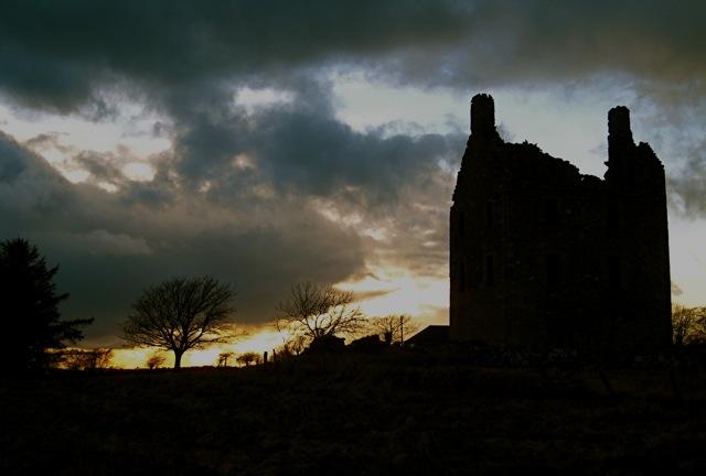 Knockhall castle at sunset