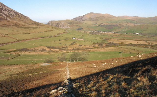 View NE across rough grazing on the eastern slopes of Mynydd Carnguwch