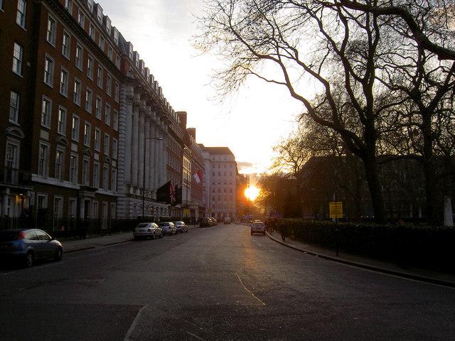 Sunset over Hyde Park from Grosvenor Square