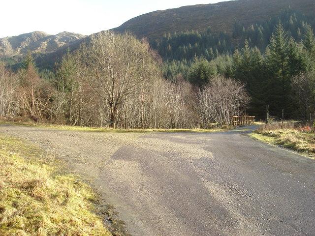 Junction of forestry tracks in lower Glen Hurich
