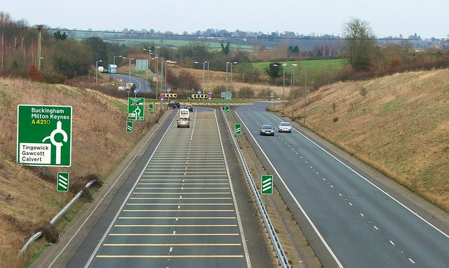 The Tingewick Bypass  A421 and the road towards Buckingham
