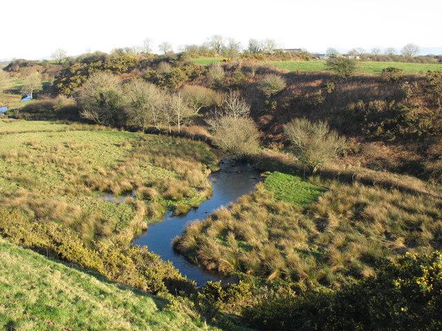 The meandering Erch below Penfras-uchaf Farm