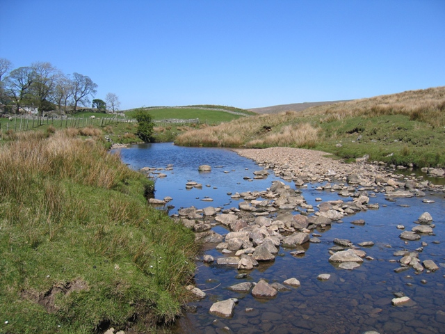 Thorn Gill upstream from the ford and the Ribble Way