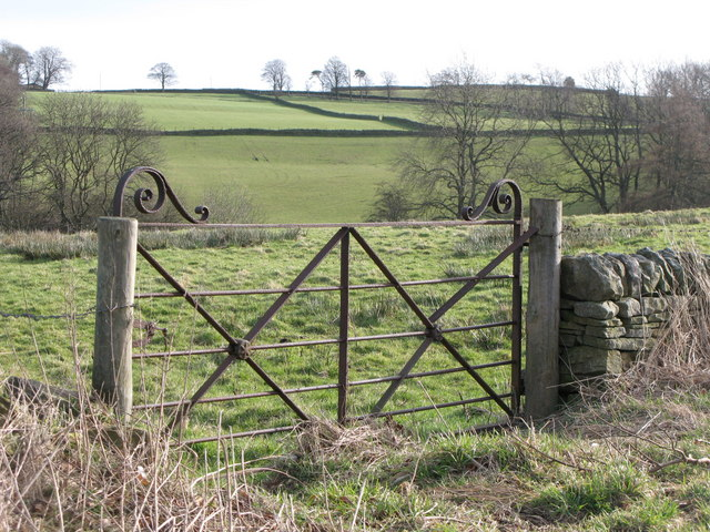 Wrought-iron gate to pastures near Shilburn Road
