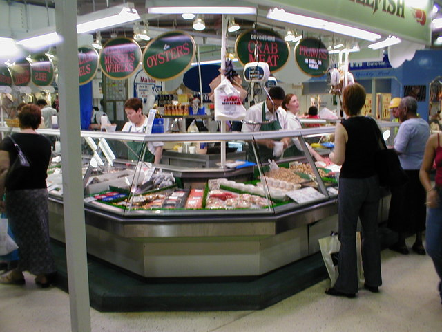 Shellfish stall in the Bull Ring fish market.