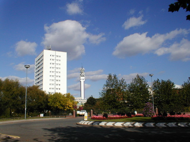 Traffic island and high-rise flats at the rear of the Repertory Theatre.