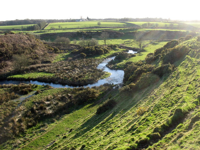 A meandering reach of Afon Erch upstream of the elbow of capture