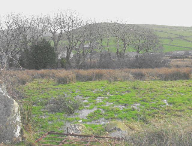Waterlogged field alongside the B4417