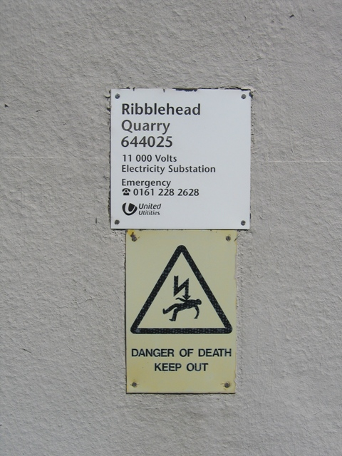 Warning sign on Ribblehead Quarry sub-station