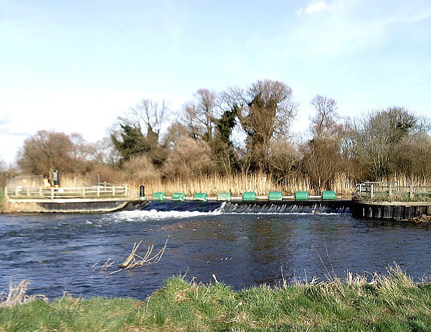 Weir on the River Great Ouse at Offord Cluny