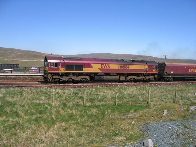 EWS 66184 entering Ribblehead station